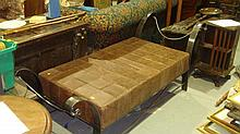 Unusual wrought steel and leather bench seat