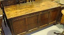 18th century and later carved oak coffer oak