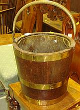 Brass and oak coal bucket