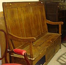 19th century rustic pine settle