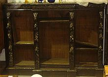Victorian carved oak bookshelves