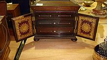 19th century mahogany work box with hinged lid,