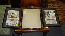 Japanese lacquer picture frame and two Indian