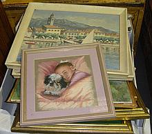 Box of assorted pictures including pastel and