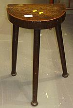 19th century half round 3 legged stool