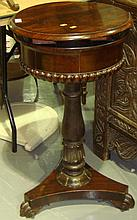 William IV rosewood teapoy with rising lid