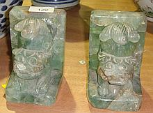 Pair of Chinese green quartz book ends with dog au