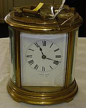 Early 20th century oval shaped carriage clock back