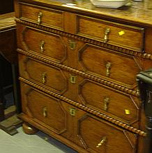 18th century geometric chest of four drawers on