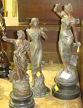 Spelter figures of seasons x 3
