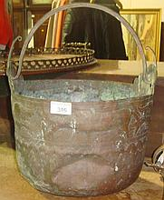 Early Continental copper pot decorated with