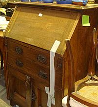 Oak Arts and Crafts fall front bureau