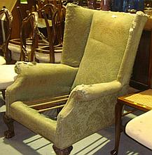Pre 1950 coir filled upholstered wing library