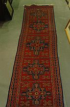Flat weave runner with four lozenges