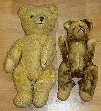 Vintage straw filled articulated teddy bear and