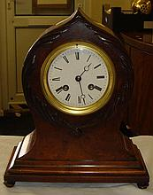 Late 19th century walnut cased mantel clock with