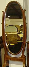 Decorative inlaid cheval mirror on brass castors