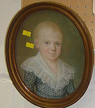 19th century oval watercolour of a child in gilt