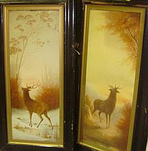 Pair of 20th century W/C of Deer F