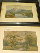 Pr of early 20th century W/C lakeland scene and