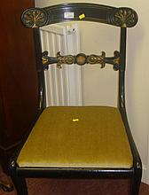 Ebonised 19th century carved rail side chair