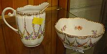 Dresden sugar bowl and milk jug