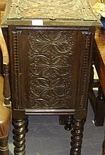 Carved oak pot cupboard
