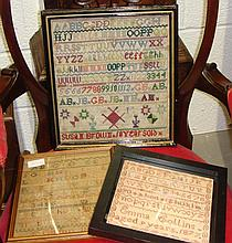 Three needlework samplers, cricketing picture and