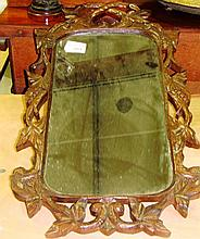 Early 20th century carved oak hall mirror