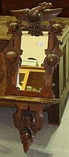 Early 20th century carved oak hall mirror with