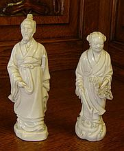 Pair of Dehua Blanc de Chine figures