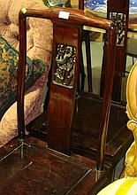 Pair of Chinese hardwood side chairs with pierced