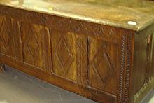 18th century and later oak four panel coffer