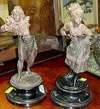 Pair of spelter figures of a boy and girl