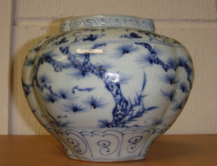 Chinese blue and white lobed shaped squat ovoid