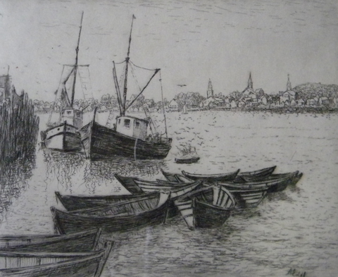 Albert  Edel  (1890 - 1961)  Quiet Harbor, etching