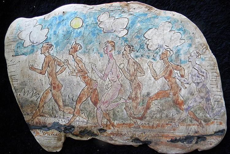 Robert Overman Hodgell  (1922-2000),  Males Running, ceramic plaster relief, 21.5 x 15.5 x .5