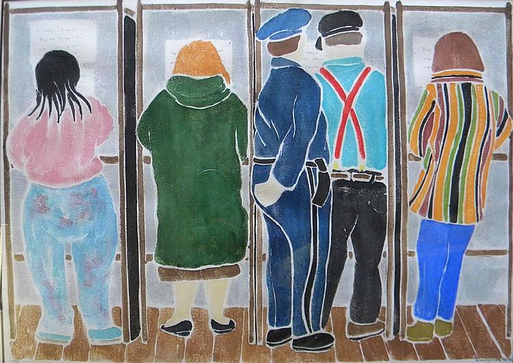 Diane  Johnson  (born 1935),  Cape Cod Voters, white line color wood block print, 12.5 x 17