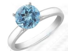 Natural Topaz 6mm 1.00 ct Classic Solitaire Ring 14K White or Yellow Gold