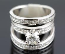 3.0 ctw Diamond Engagement  Ring 14K White Gold G-H, SI3,  9.2 tgw|**Size:5
