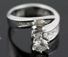 2.20 ctw Diamond Engagement  Ring 18K White Gold G-H,  SI2-SI3,  9.6 tgw|**Size:7
