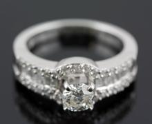 1.32 ctw Diamond Engagement  Ring 14K White Gold H-I,   SI2,  6.8 tgw |**Size:7