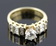 1.68ctw Diamond Engagement  Ring 14KYellow Gold G-HSI35.2 tgw|**Size:6.5