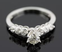 0.71 ctw Diamond Engagement  Ring 14K White Gold G-H,  SI2  2.69 tgw |**Size:6.5