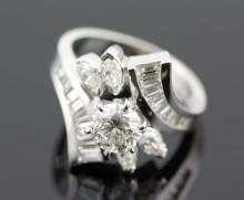 3.18 ctw Diamond Engagement  Ring 14K White Gold H,  SI3  7.0 tgw|**Size:5.5