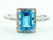 1.70ct Rectangular Blue Topaz with 0.11ct Diamonds Halo 14K Ring - Size 7