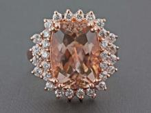 6.29ct Cushion-Cut Morganite with Diamonds in 14K Rose Gold Anniversary Ring - 7