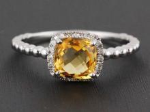1.21ct Cushion Yellow Corundum & Diamonds 14K White Gold Birthstone Halo Ring