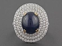 6.73ct Cabochon Sapphire & Diamond 14K 2-Tone Gold Cocktail Anniversary Ring - 6