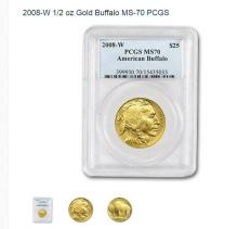 2008-W 1/2 oz Gold Buffalo MS-70 PCGS